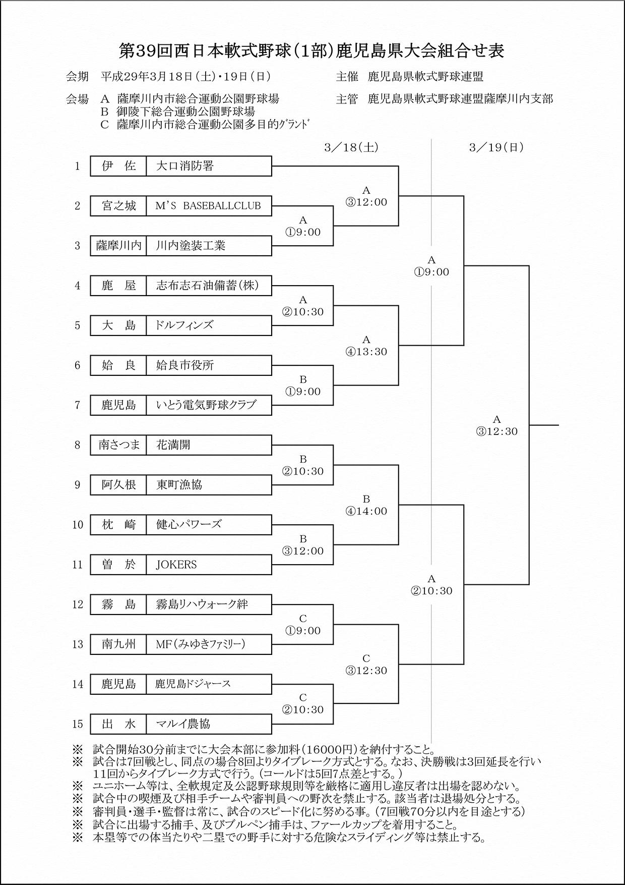 ▽第39回西日本軟式野球1部県大会組合せ表