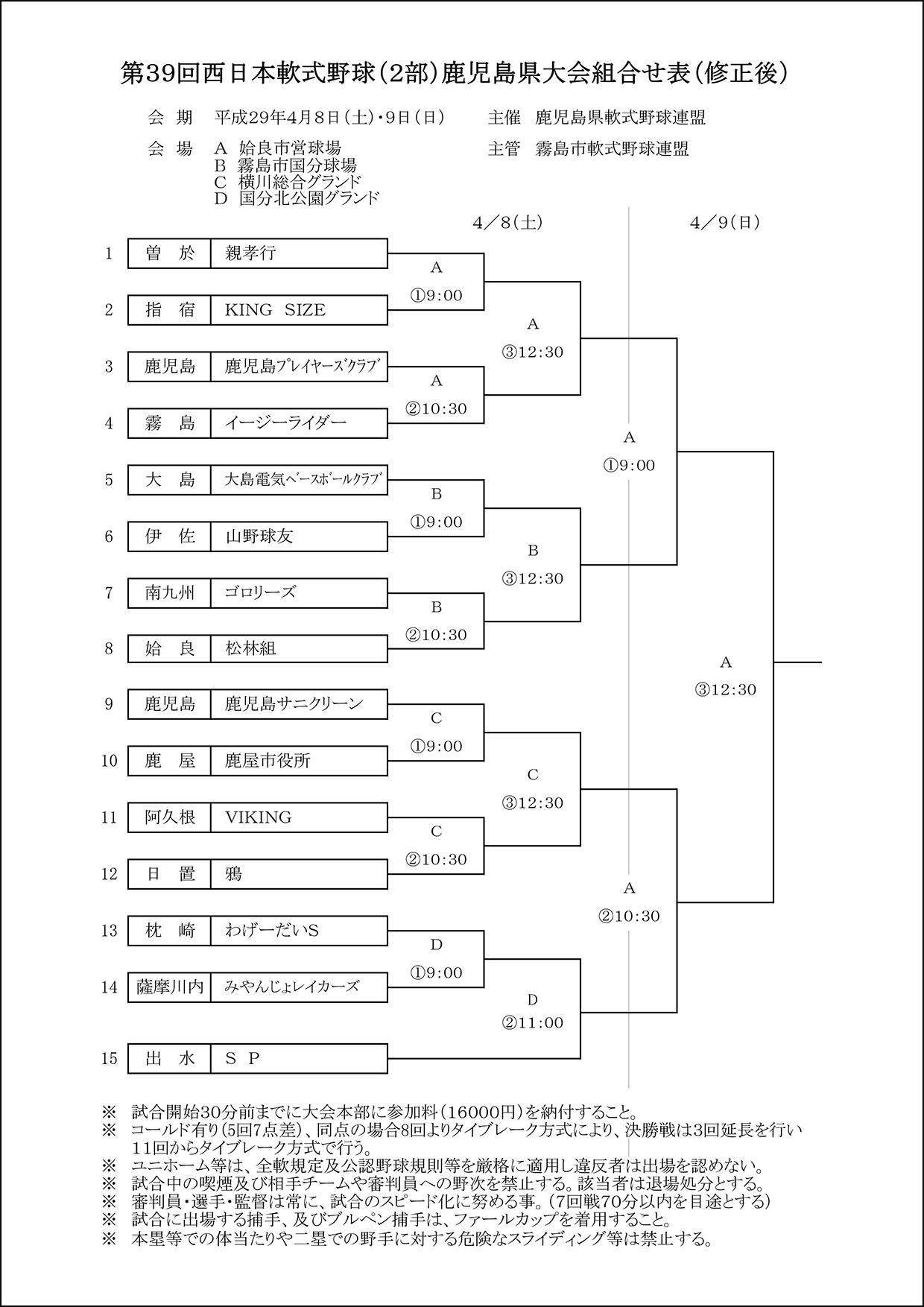【会場修正】第39回西日本軟式野球(2部)鹿児島県大会組合せ表