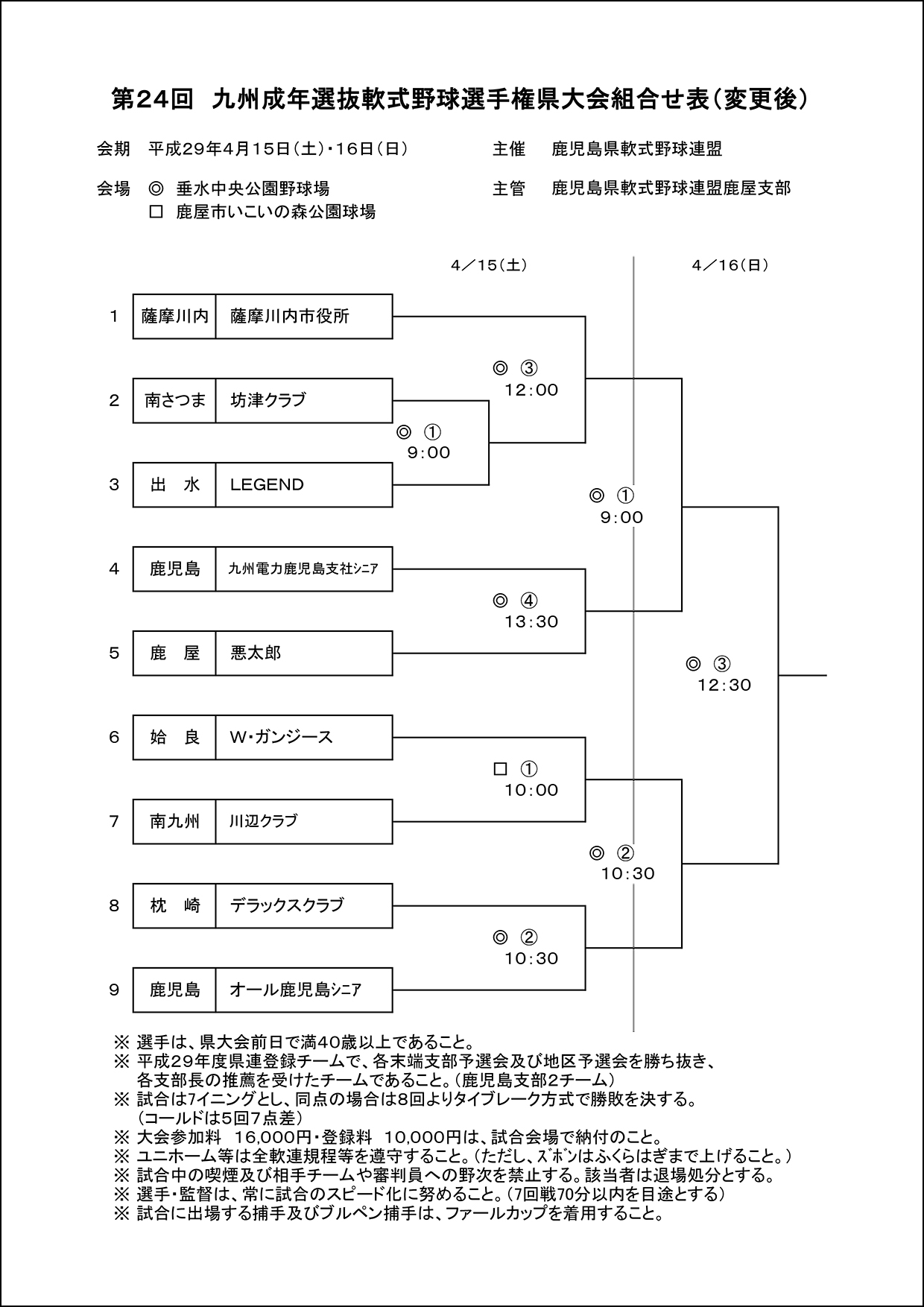 【会場変更】第24回九州成年選抜軟式野球選手権県大会組合せ表(変更後)