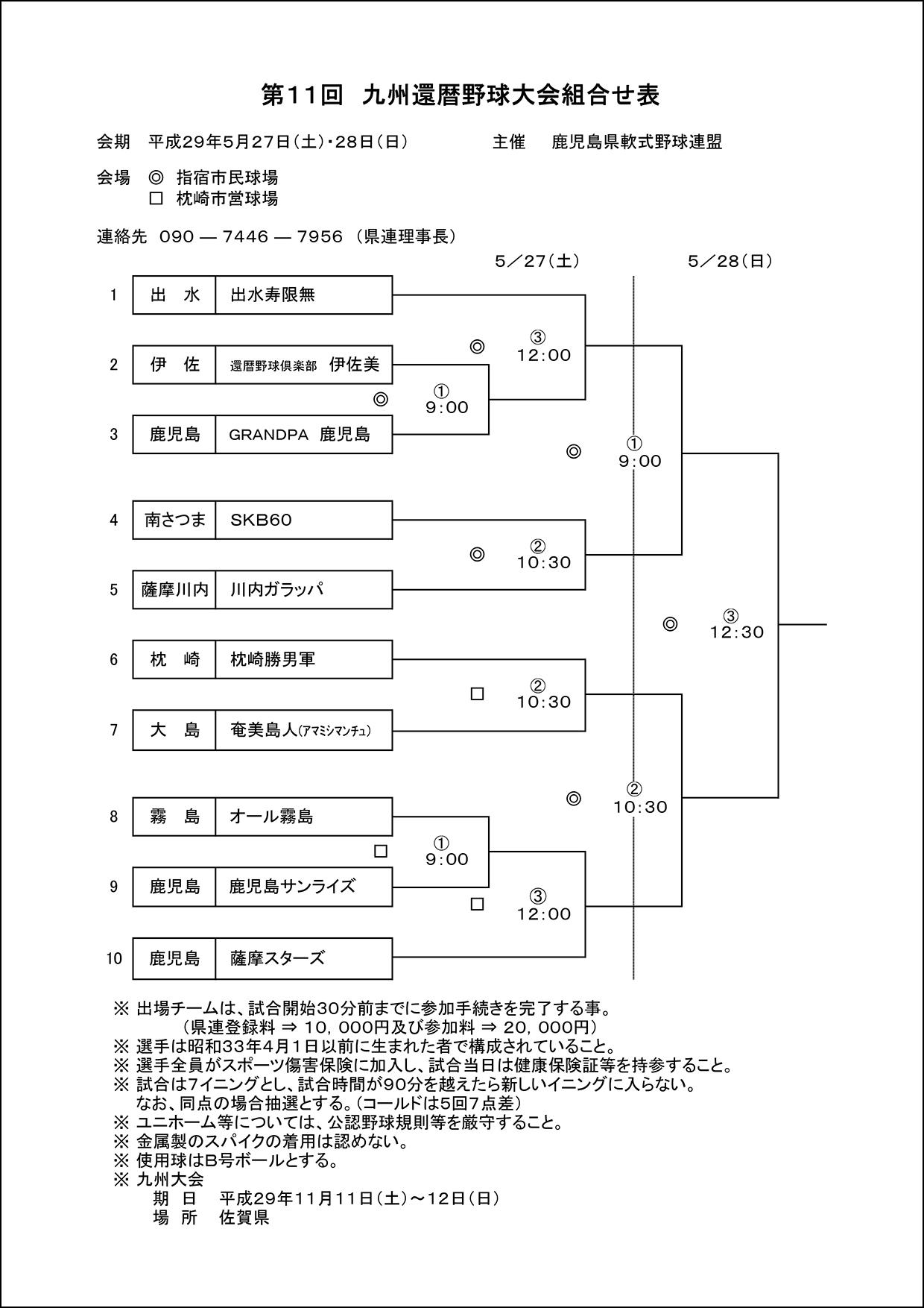 【組合せ】第11回九州還暦野球大会組合せ