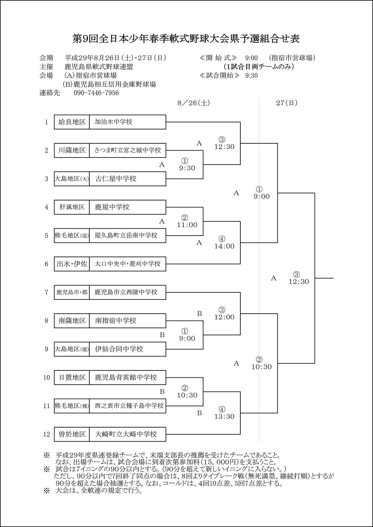 【組合せ】第9回全日本少年春季軟式野球大会県予選組合せ表
