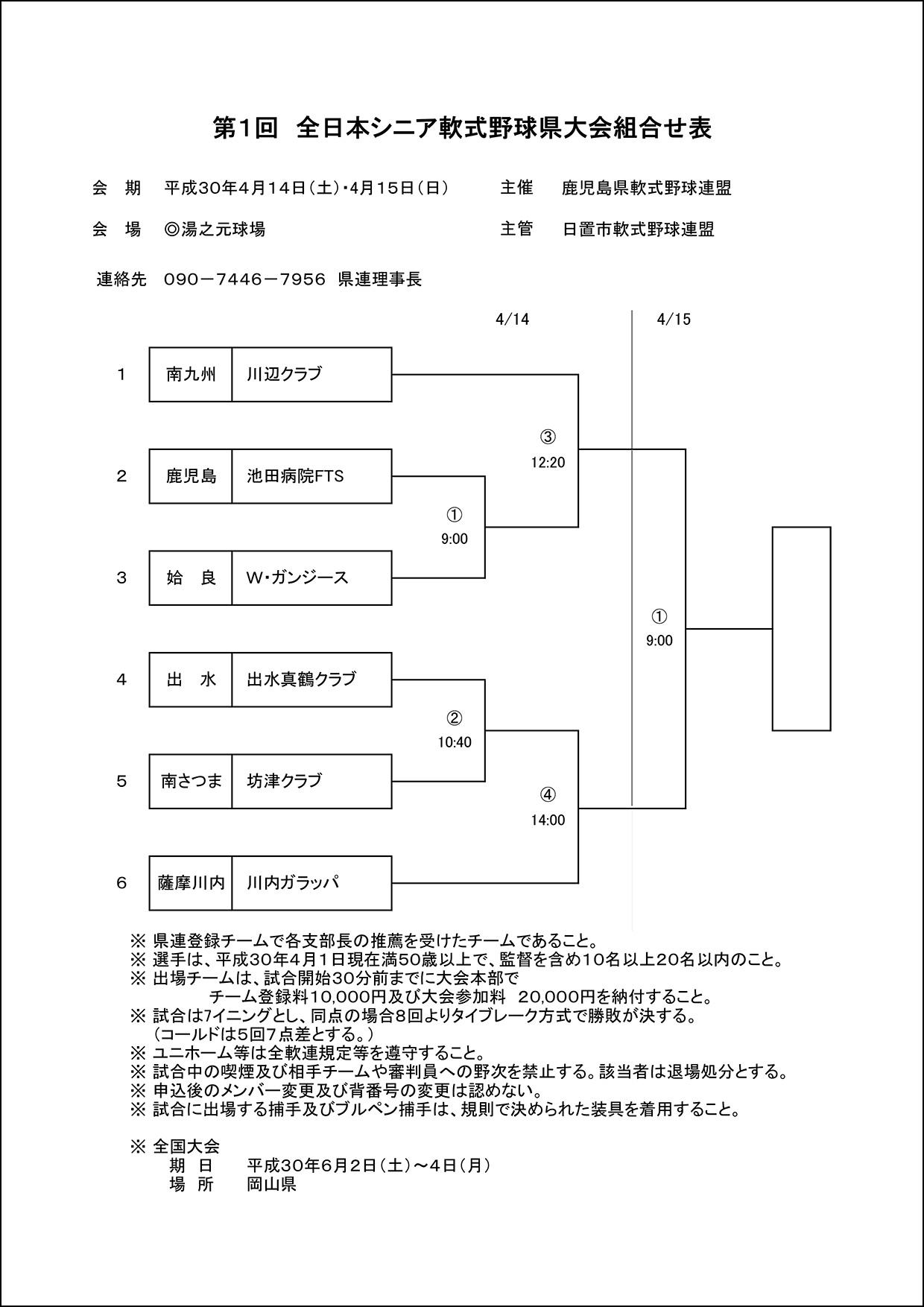 【組合せ】第1回全日本シニア軟式野球県大会組合せ表