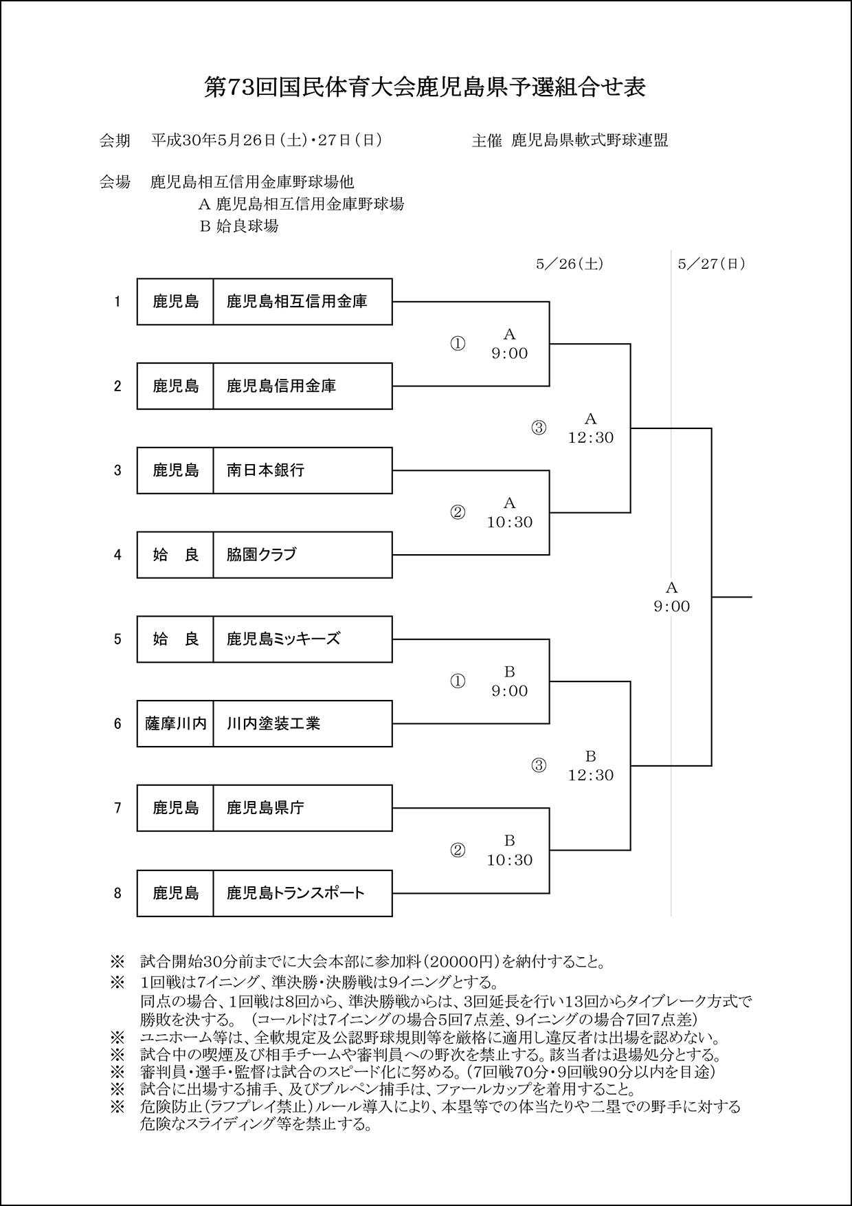 ▽【組合せ】第73回国民体育大会鹿児島県予選