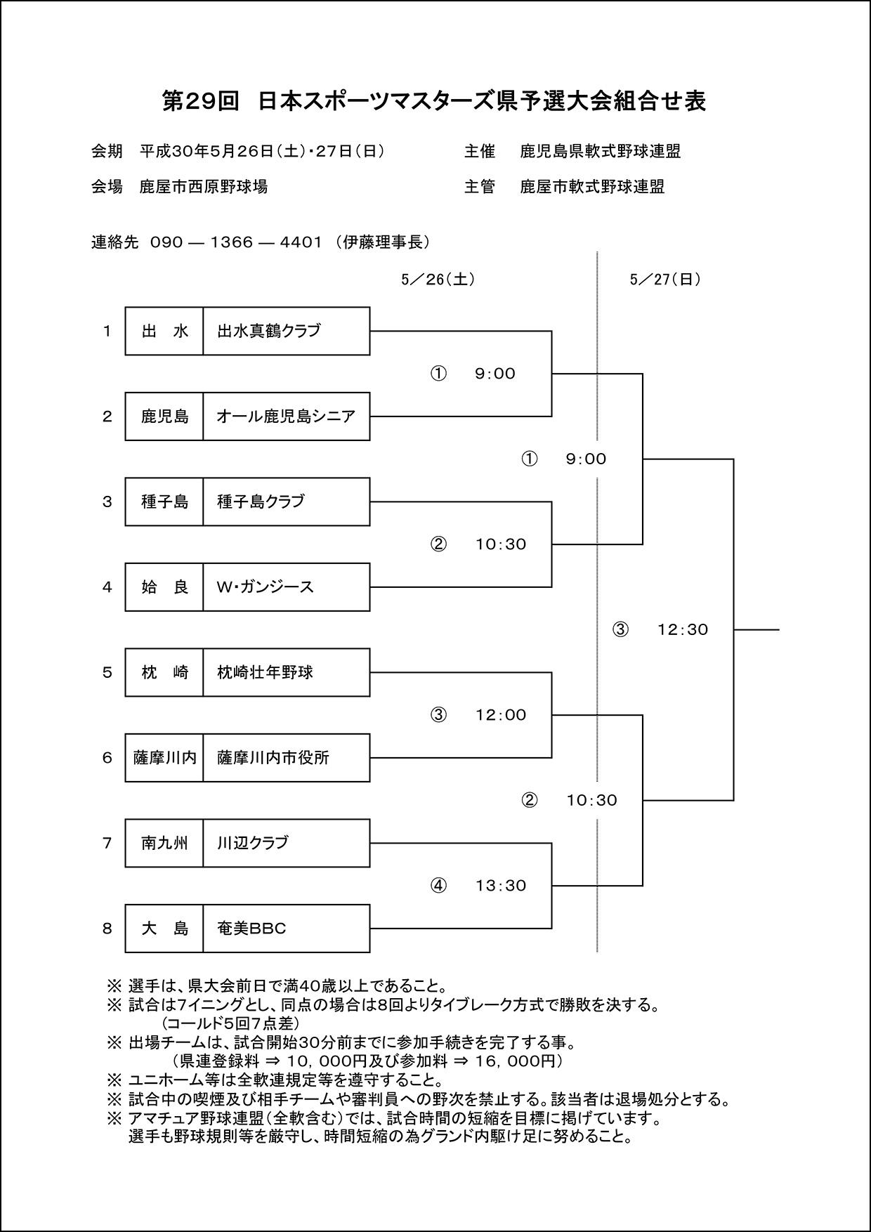 ▽【組合せ】第29回日本スポーツマスターズ県予選大会