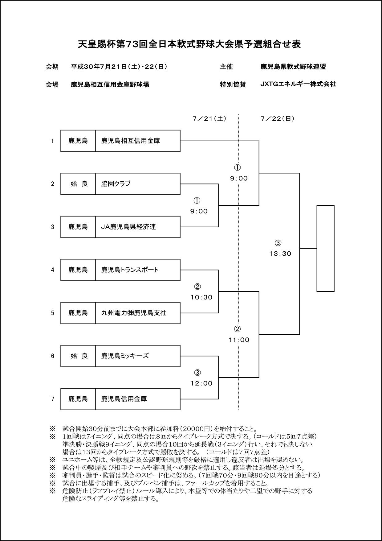【組合せ】天皇賜杯第73回全日本軟式野球大会県予選
