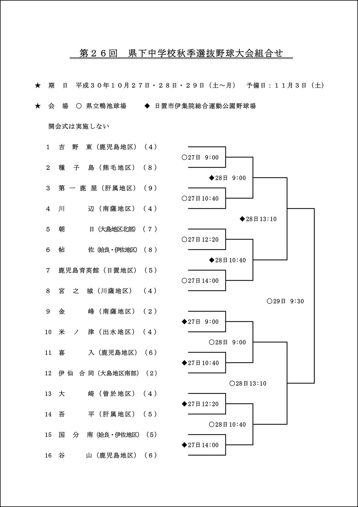 【組合せ】第26回中学秋季選抜軟式野球大会組合せ表