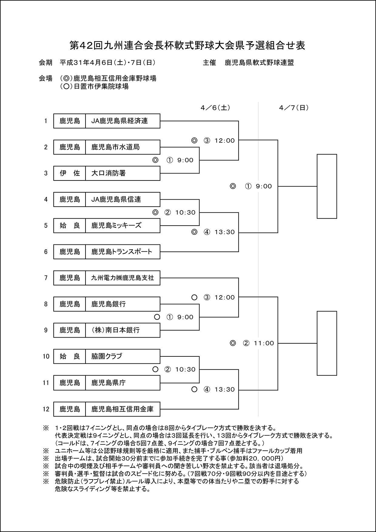 【組合せ】第42回九連会長杯軟式野球大会県予選