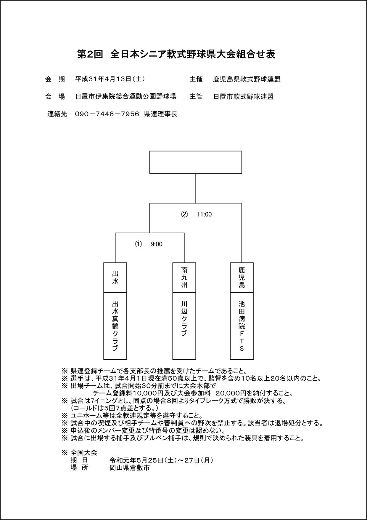 【組合せ】第2回 全日本シニア軟式野球県大会