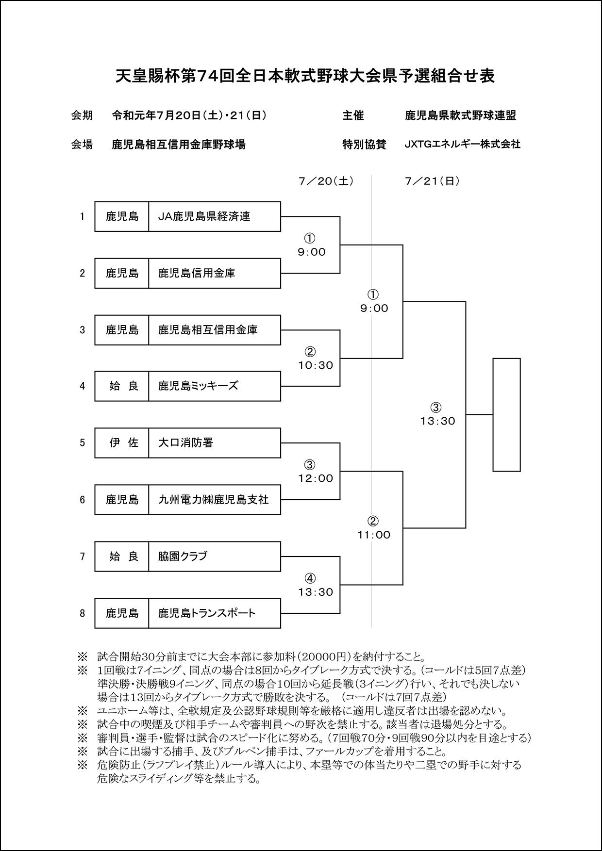【組合せ】天皇賜杯第74回全日本軟式野球県大会
