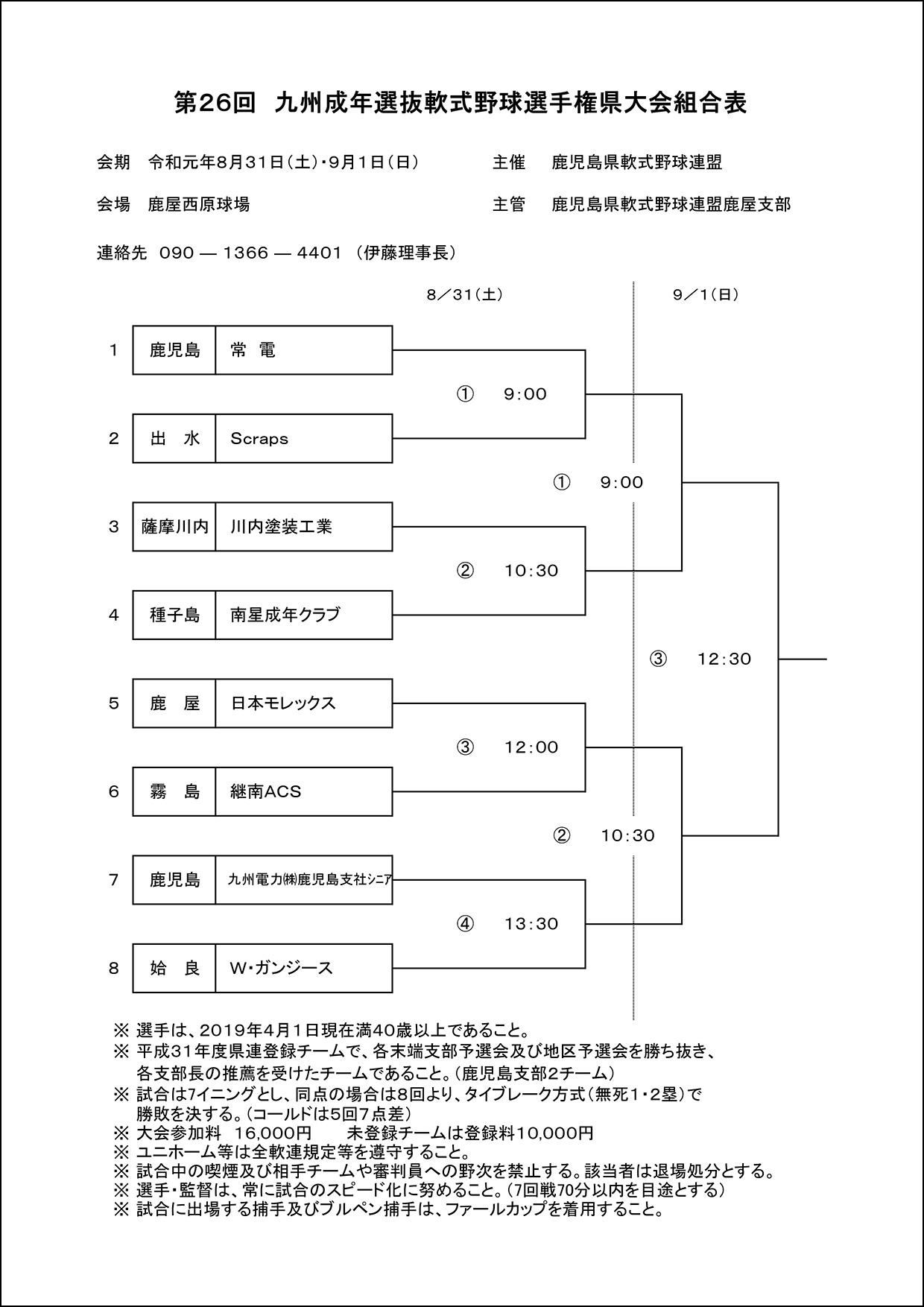 【組合せ表】九州地区成年県大会