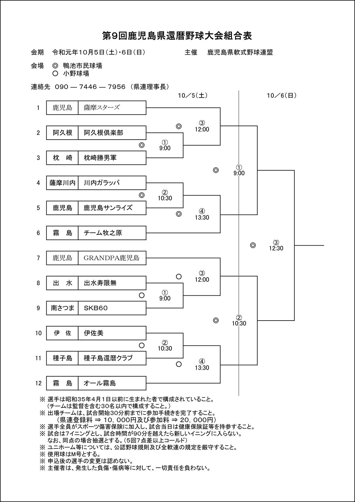 【組合表】第9回鹿児島県還暦野球大会