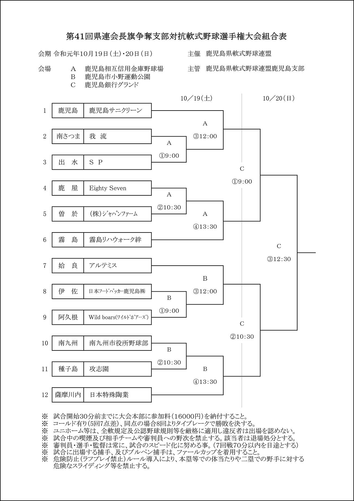 【組合せ】第41回県連会長杯