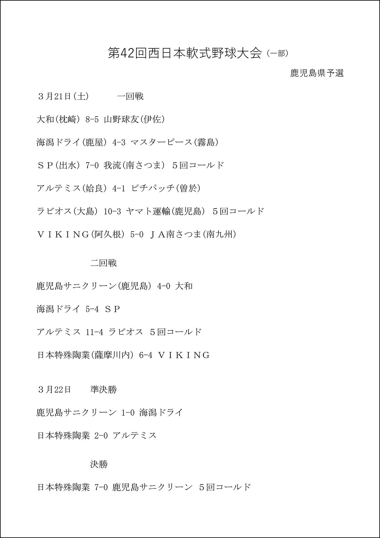 【結果】第42回西日本軟式野球大会(1部)