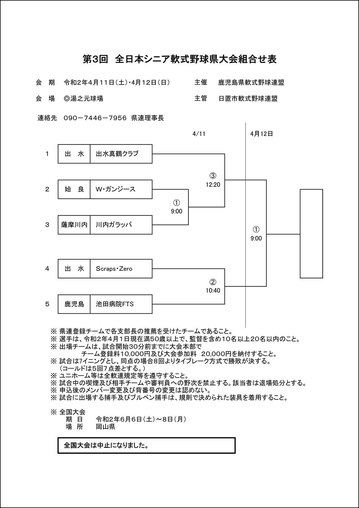 【組合せ】第3回全日本シニア軟式野球県大会