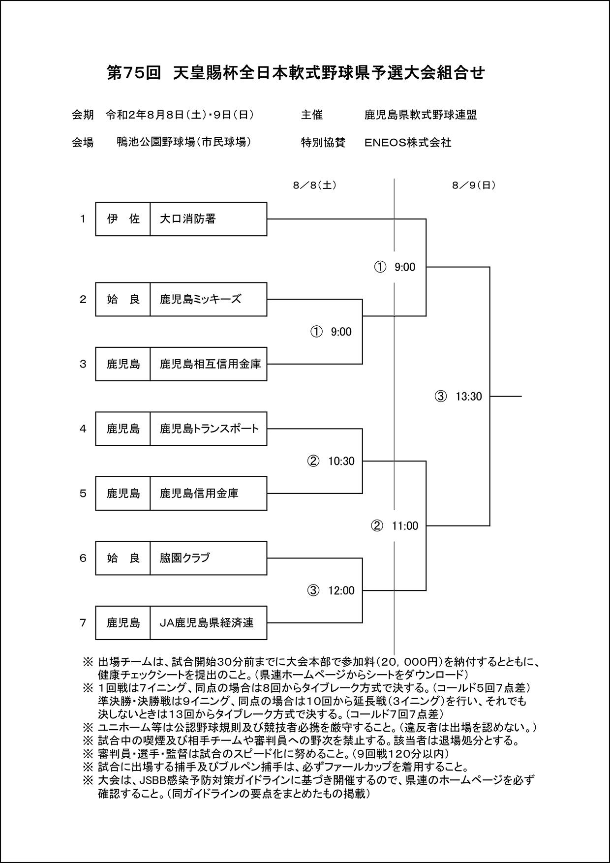【組合せ】第75回天皇賜杯大会