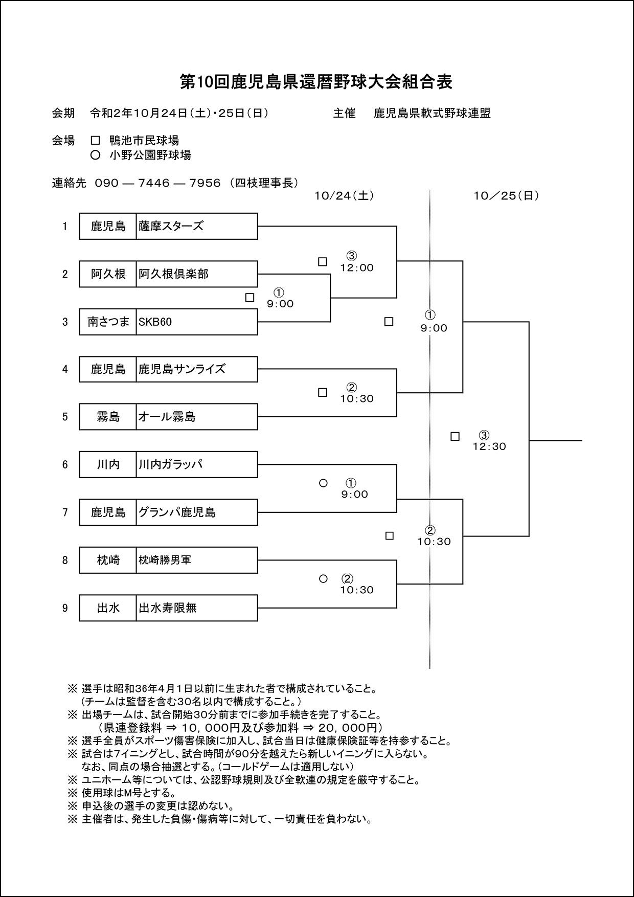 【組合せ】第10回鹿児島県還暦野球大会