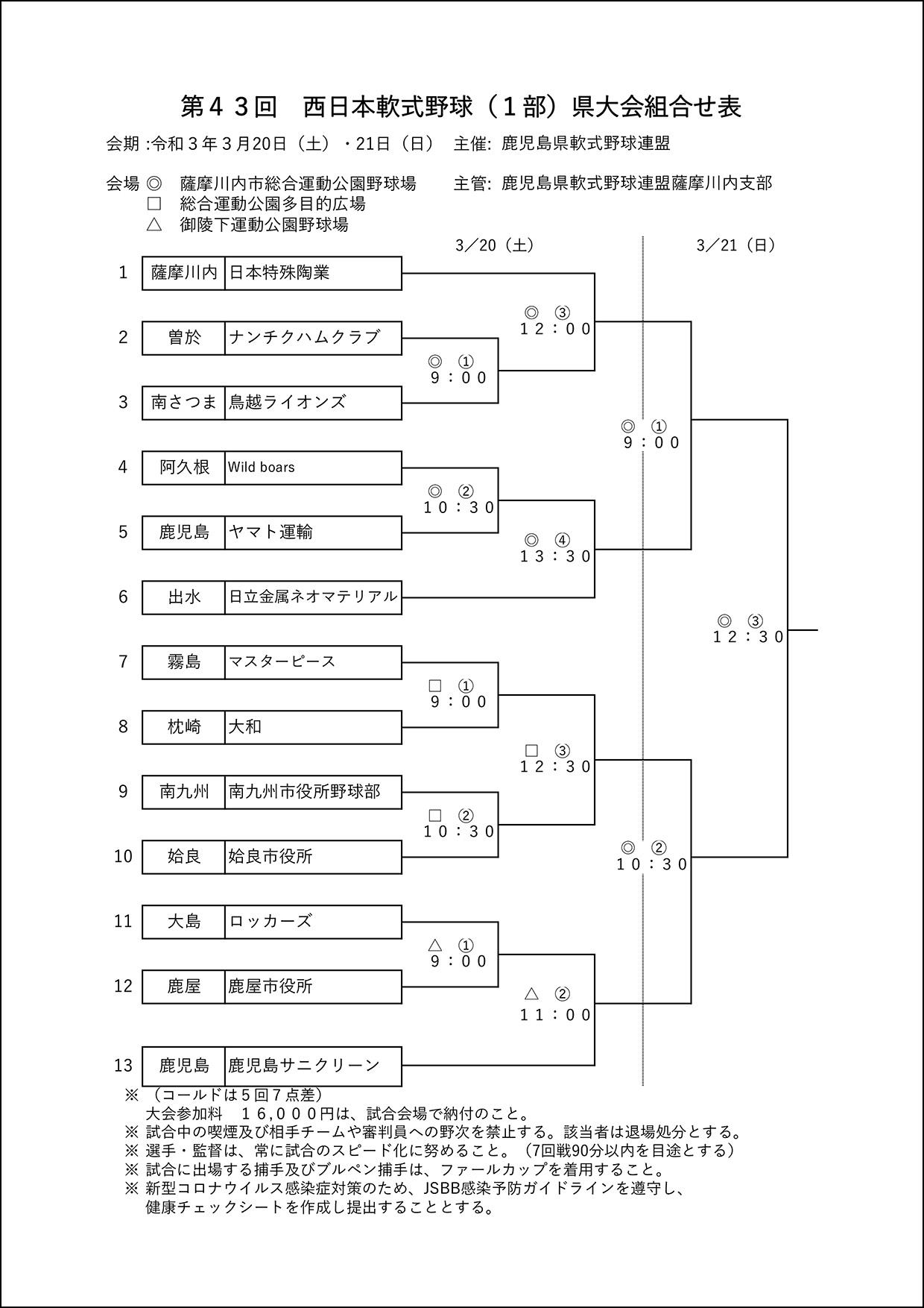 【組合せ】第43回西日本軟式野球(1部)県大会