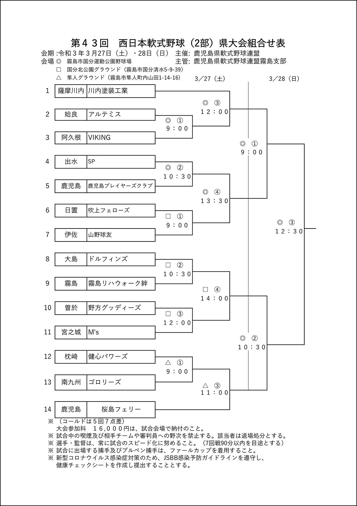 【組合せ】第43回 西日本軟式野球(2部)県大会