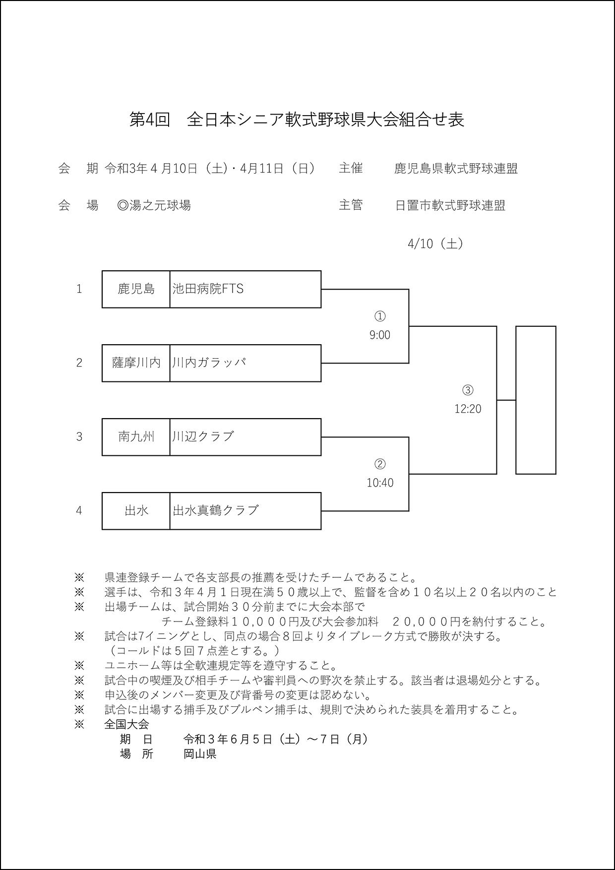 【組合せ】第4回全日本シニア軟式野球県大会