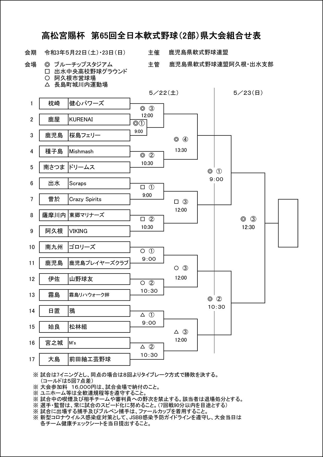 【組合せ】高松宮賜杯 第65回全日本軟式野球(2部)県大会