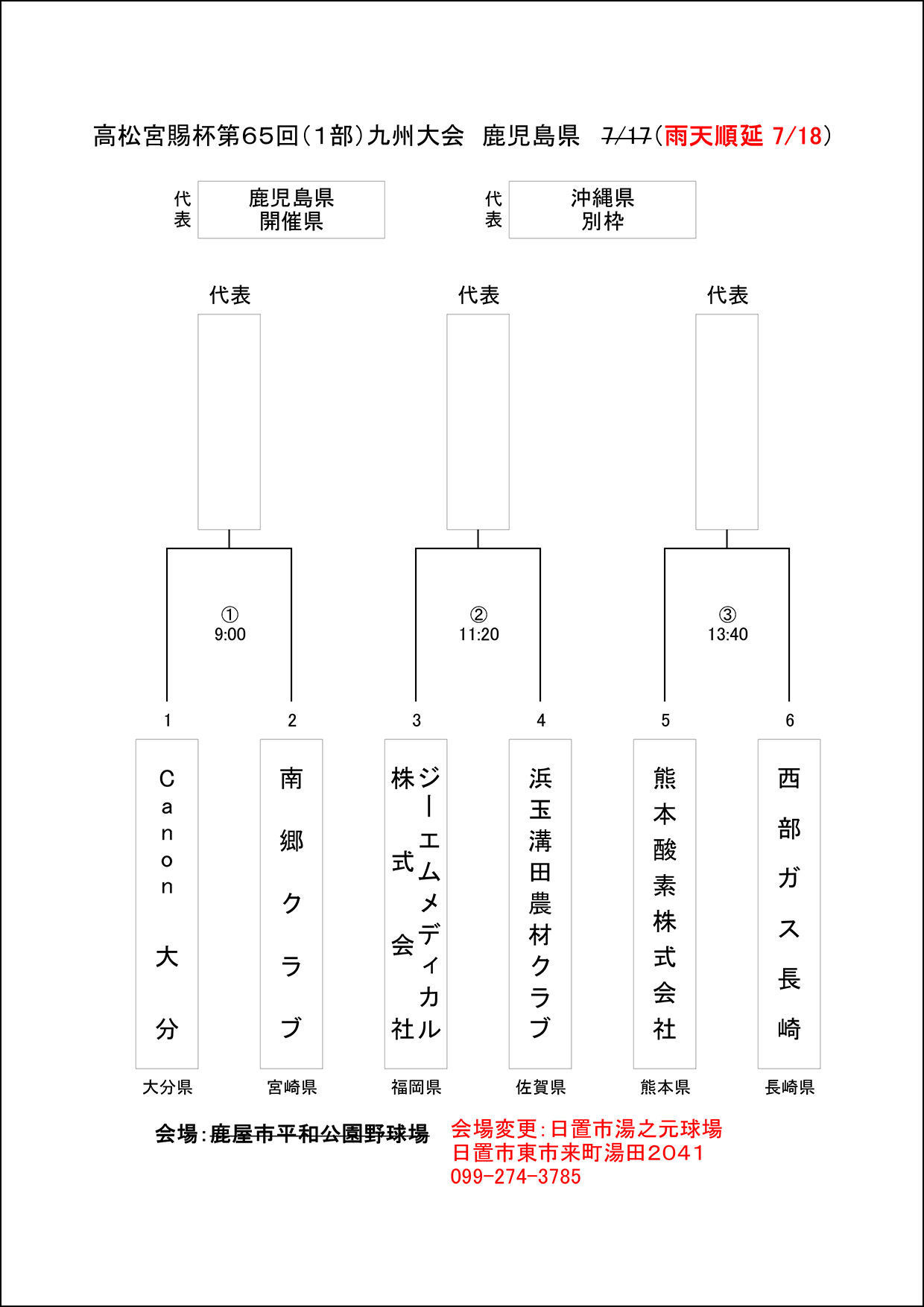 【雨天順延】高松宮賜杯九州大会(1部)組合せ表(最終)