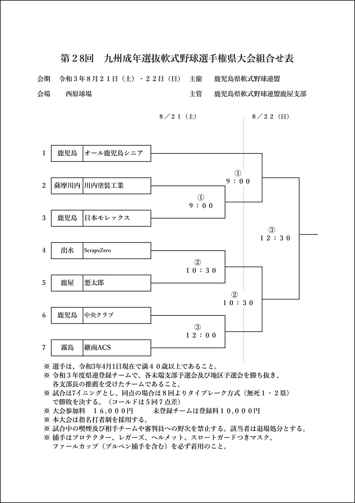 【組合せ】第28回九州地区成年選抜