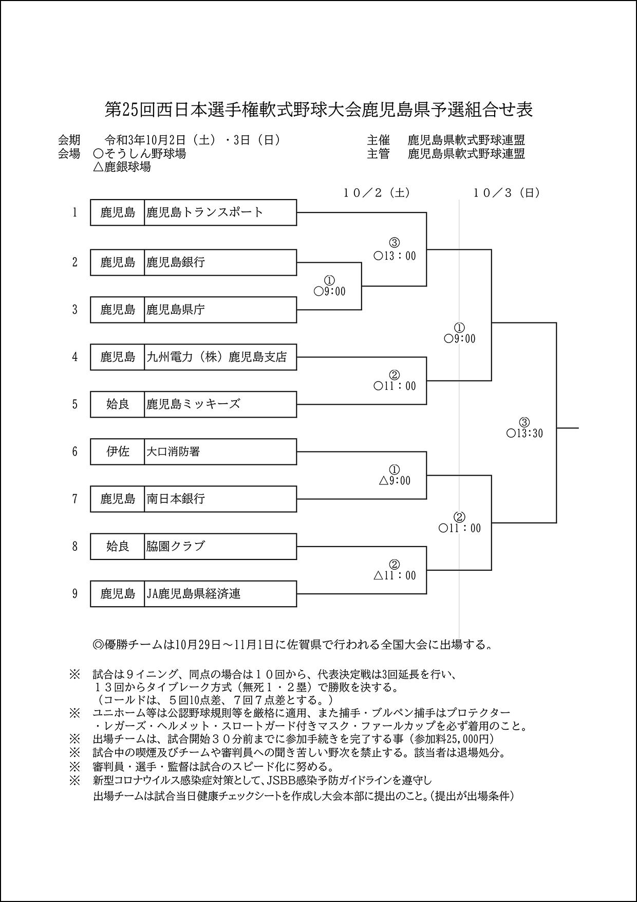【組合せ】第25回西日本選手権軟式野球大会鹿児島県予選組合せ表