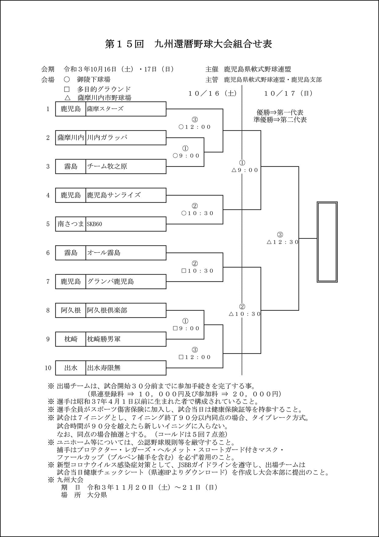 【組合せ】第15回九州還暦野球大会